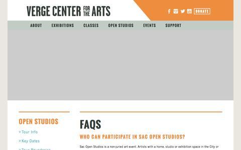 Screenshot of FAQ Page vergeart.com - Verge Center for the Arts - captured Nov. 29, 2016