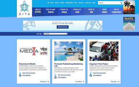 Screenshot of Press Page cita.ky - Cayman Islands Tourism Association - CITA Member by Media Sector - captured July 22, 2017