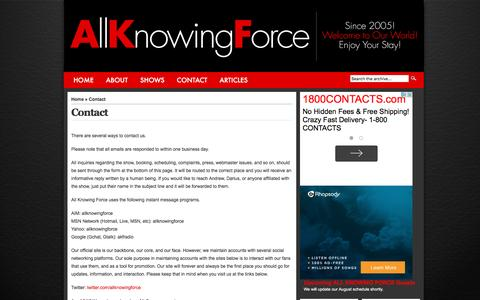 Screenshot of Contact Page allknowingforce.com - Contact   All Knowing Force - captured July 25, 2016