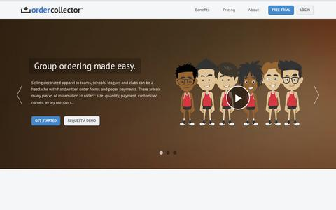 Screenshot of Home Page ordercollector.com - Group Ordering Made Easy! - Order Collector - captured Sept. 23, 2014