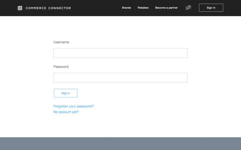 Screenshot of Login Page commerce-connector.com - Commerce Connector —   Sign In - captured Nov. 10, 2016