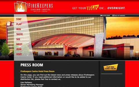 Screenshot of Press Page firekeeperscasino.com - Press Room  | FireKeepers Casino Hotel - captured Oct. 6, 2014