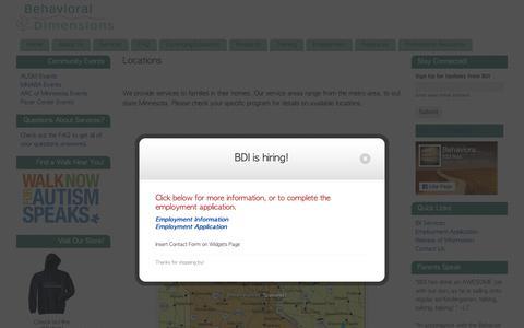 Screenshot of Locations Page behavioraldimensions.com - Locations - - captured Oct. 5, 2018
