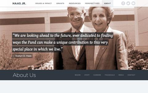 Screenshot of About Page haasjr.org - About Us | Evelyn & Walter Haas, Jr. Fund - captured Jan. 31, 2016