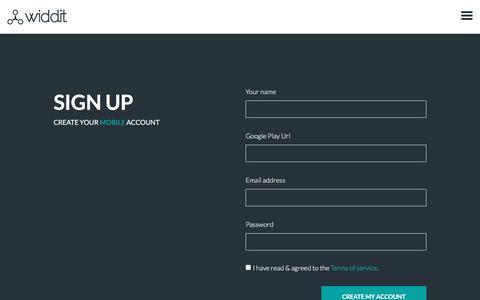 Screenshot of Signup Page widdit.com - Widdit - Signup - captured June 23, 2016