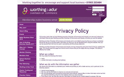 Screenshot of Privacy Page worthingandadurchamber.co.uk - Worthing & Adur Chamber Of Commerce - Privacy - captured Dec. 9, 2017