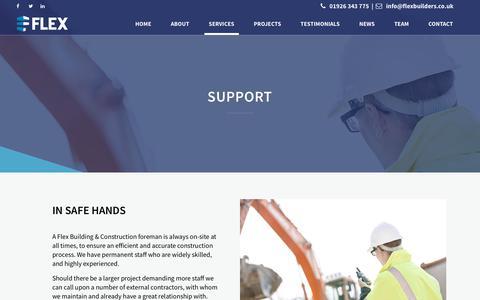 Screenshot of Support Page flexbuilders.co.uk - Support - Flex Building + Construction - captured Oct. 14, 2017