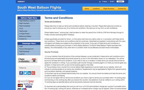 Screenshot of Terms Page southwestballoonflights.co.uk - Terms and Conditions - captured June 15, 2017