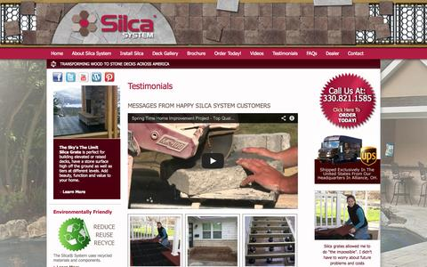 Screenshot of Testimonials Page silcasystem.com - Testimonials | Wood to Stone Decks | Silca System - captured Oct. 26, 2014