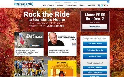 Screenshot of Home Page siriusxm.com - Welcome to the world of satellite radio - SiriusXM Radio - captured Nov. 24, 2015