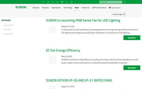 Screenshot of Press Page sunonusa.com - News - Sunon - captured Oct. 1, 2018