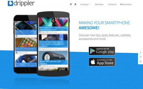 Screenshot of Home Page drippler.com - Drippler - Making Your Smartphone Awesome - captured Oct. 1, 2015