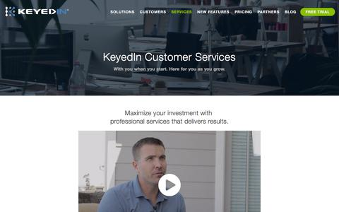 Screenshot of Services Page keyedin.com - Customer Services - KeyedIn Solution - Driving Business Performance with Cloud Solutions - captured Nov. 24, 2019
