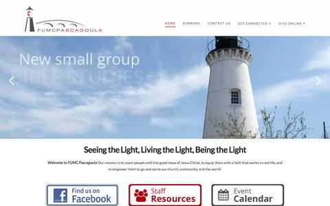 Screenshot of Home Page fumcpascagoula.org - First United Methodist Church | Pascagoula, Mississippi - captured Nov. 25, 2016