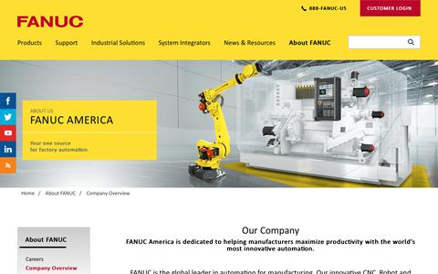 Screenshot of About Page fanucamerica.com - FANUC Company Overview | FANUC America - captured Nov. 18, 2017