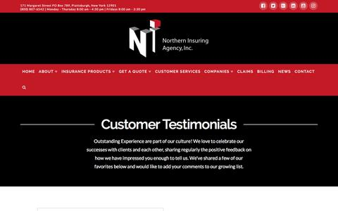 Screenshot of Testimonials Page northerninsuring.com - Testimonials | Northern Insuring Agency, Inc. - captured Dec. 10, 2016