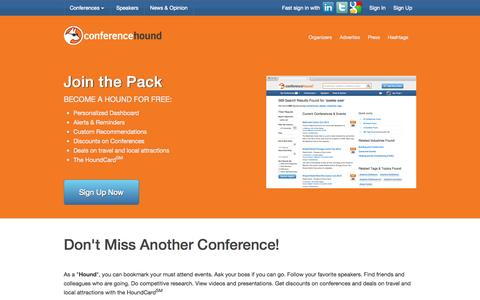 Screenshot of Signup Page conferencehound.com - Conferences, Conventions, Expos, Trade Shows & Professional Events | Conference Hound - captured Sept. 13, 2014