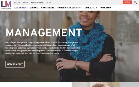 Screenshot of Team Page limcollege.edu - Management Programs   Management   LIM College - captured Jan. 14, 2017