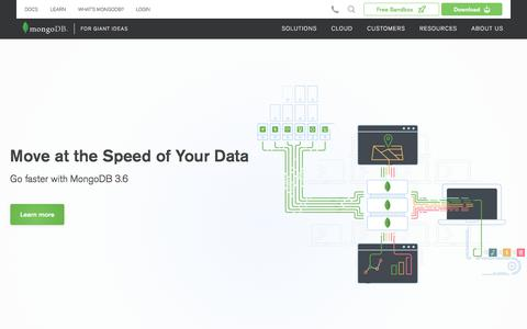 Screenshot of Home Page mongodb.com - MongoDB for GIANT Ideas | MongoDB - captured Nov. 8, 2017