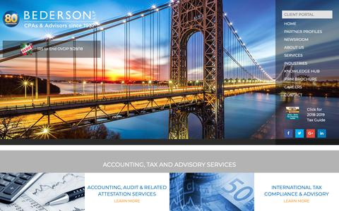 Screenshot of Home Page bederson.com - Bederson LLP - New Jersey Certified Public Accountants Since 1937 - captured Oct. 5, 2018