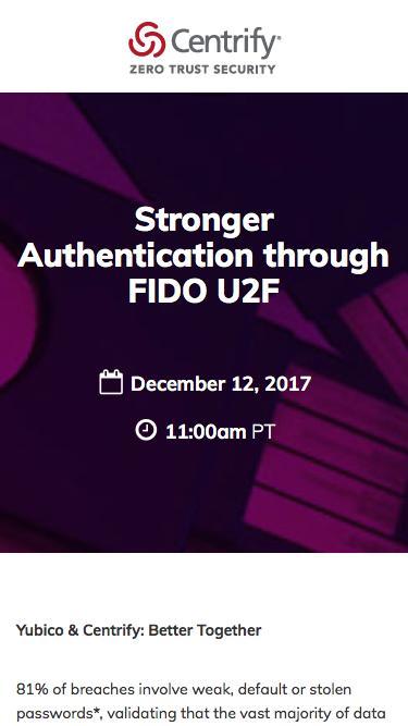 Stronger Authentication through FIDO U2F - Centrify