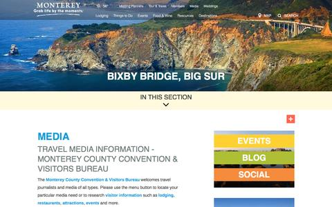 Screenshot of Press Page seemonterey.com - See Monterey, CA | Monterey's Official Tourism & Travel Information for Monterey Hotels, Accommodations, Attractions - captured Nov. 29, 2016