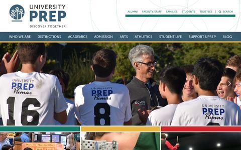 Screenshot of Home Page universityprep.org - Home - University Prep - captured Sept. 20, 2018