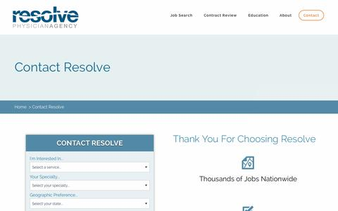 Screenshot of Contact Page resolvephysicianagency.com - Contact Resolve Physician Agency - captured Jan. 17, 2016