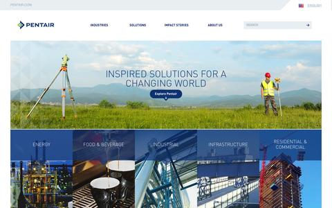 Screenshot of Home Page pentair.com - Pentair | Global Leader in Water, Fluid, Thermal Mgmt & Equipment Protection - captured Sept. 19, 2014