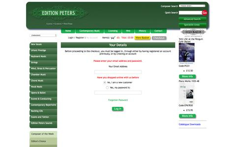 Screenshot of Login Page editionpeters.com - Buy sheet music online - Classical sheet music - Contemporary sheet music | editionpeters - captured Jan. 26, 2016