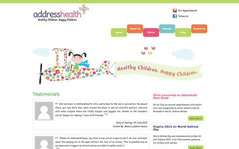 Screenshot of Testimonials Page addresshealth.com - addresshealth - Testimonials - captured Sept. 30, 2014
