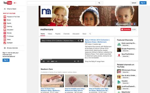 Screenshot of YouTube Page youtube.com - mothercare  - YouTube - captured Oct. 25, 2014