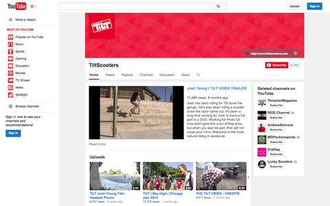 Screenshot of YouTube Page youtube.com - TiltScooters  - YouTube - captured Oct. 29, 2014