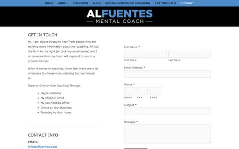 Screenshot of Contact Page alfuentes.com - Contact — Al Fuentes Mental Coaching | Brain - Emotional Subconscious Healing Through  My Unique Breathing and Visualization System - captured Oct. 7, 2017