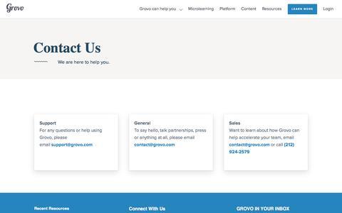 Contact Us -                         Grovo