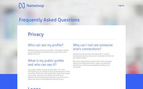 Screenshot of FAQ Page nameloop.com - Nameloop - FAQs - captured Nov. 5, 2014