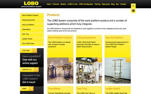 Screenshot of Products Page lobosystems.com - Products | LOBO Systems - captured Oct. 1, 2014