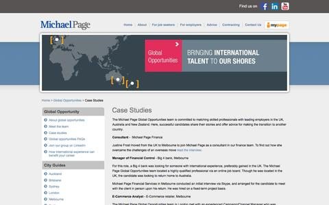 Screenshot of Case Studies Page michaelpage.com.au - Case Studies   Michael Page - captured Jan. 14, 2016