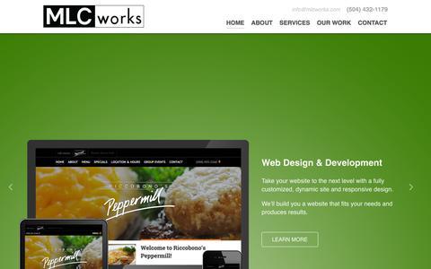 Screenshot of Home Page mlcworks.com - MLCworks Website Design and Development New Orleans - captured Sept. 16, 2015