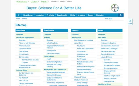 Screenshot of Site Map Page bayer.com - Sitemap - Bayer - captured Jan. 21, 2017