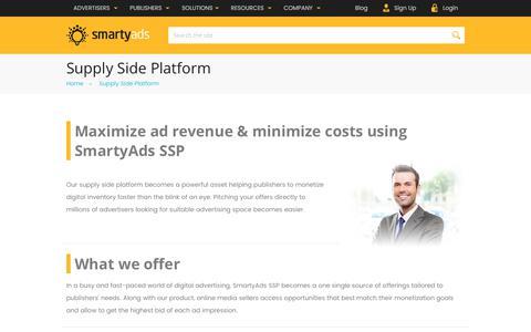 Screenshot of smartyads.com - Supply Side Platform (SSP) to Maximize Publishers' Revenue | SmartyAds - captured May 31, 2017