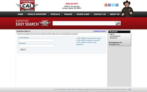 Screenshot of Login Page calcars.com captured Oct. 1, 2014