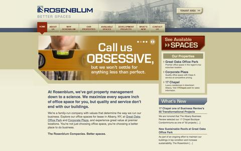 Screenshot of Home Page rosenblumcompanies.com - The Rosenblum Companies | Office Spaces for lease in Albany, NY - captured Oct. 6, 2014