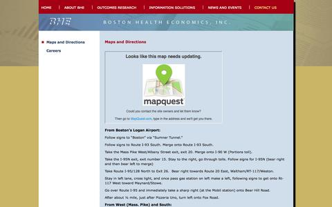Screenshot of Maps & Directions Page bhei.com - Contact Us - Maps and Directions - Boston Health Economics, Inc. - captured Oct. 5, 2014
