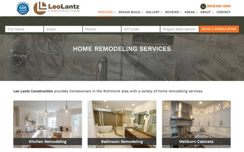 Screenshot of Services Page leolantz.com - Richmond VA Home Remodeling Contractor | Leo Lantz Construction - captured Sept. 28, 2018