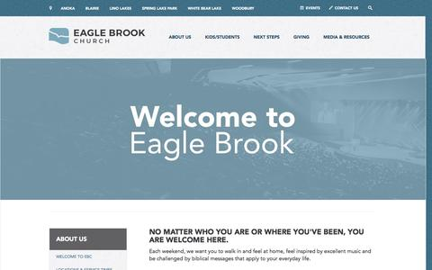Screenshot of About Page eaglebrookchurch.com - Welcome to Eagle Brook | Eagle Brook Church - captured May 13, 2017