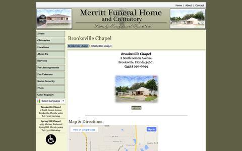 Screenshot of Locations Page merrittfuneral.com - Merritt Funeral Home   Brooksville Florida, Spring Hill Florida funeral homes - captured Oct. 27, 2014