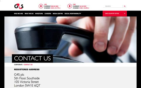 Screenshot of Contact Page g4s.com - Contact Us | G4S Corporate website - captured Jan. 23, 2018