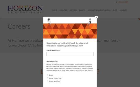 Screenshot of Jobs Page horizondigitalprint.com - Careers | Horizon Digital Print Solutions - captured July 21, 2018