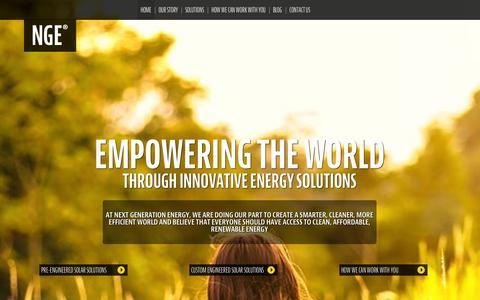 Screenshot of Home Page ngeus.com - Solar Energy | Renewable Energy Solutions | Next Generation Energy | NGENGE - captured Oct. 7, 2014
